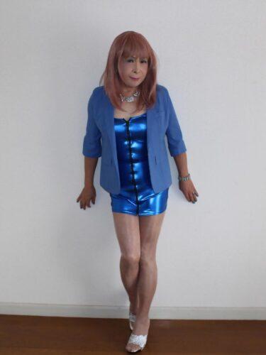 青色ボディコンミニワンピ(1)